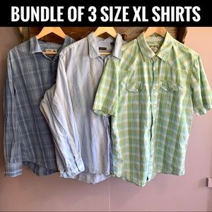 BUNDLE OF THREE MEN'S SIZE XL BUTTON UP SHIRTS